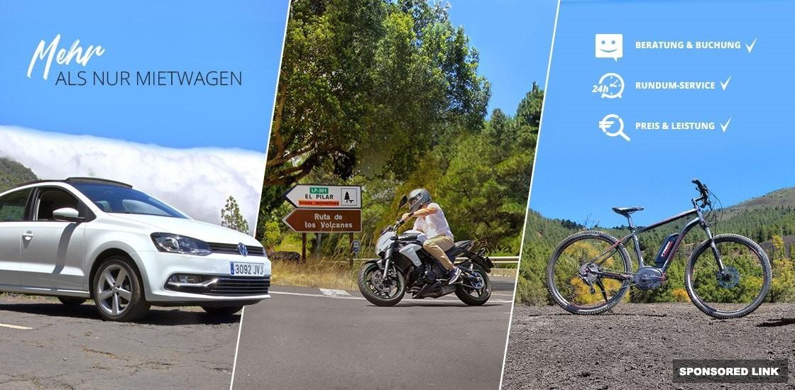 Auto, Motorrad und E-Bike mieten