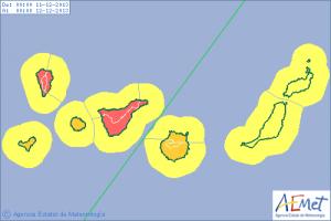Roter Alarm auch für Mittwoch, 11. Dezember auf La Palma und Teneriffa.