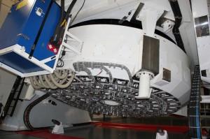 Das TNG-Teleskop: Spiegel fangen die Signale aus dem All ein, bevor sie HARPS-N weiterverarbeitet. Foto: La Palma 24