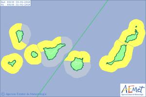 Nur heute: Küstenphänomene im Westen der Insel. Grafik: AEMET