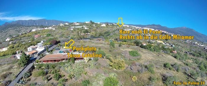 """Anfahrt: Verlässt man El Paso auf der Hauptstraße Richtung Los Llanos, entdeckt man kurz darauf gegenüber dem Parkplatz beim Sportgelände auf der rechten Seite das Hinweisschild """"Tasca Catalina"""". Rechts in die Calle Miramar einbiegen und den kurvigen kleinen Weg circa 600 Meter hinunterfahren, dann steht auf der linken Seite die Tasca Catalina. Komfortabel: Es gibt sogar einen Parkplatz! Weitere Infos bei Michael unter Telefon 922.48.65.69."""