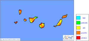 AEMET-Waldbrand-Risiko-Karte vom Mittwoch, 13. August 2014: immer mehr rote Gefahrenflecken auch auf La Palma.