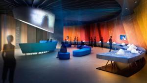 So könnte es einst aussehen: geplanter Saal im Besucherzentrum auf dem Roque de los Muchachos. Grafik: Cabildo de La Palma