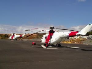 Hatten diesen Sommer zum Glück nicht viele Einsätze: die in Puntagorda stationierten BRIF-Helis. Foto: Cabildo