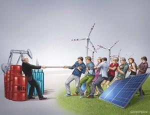 Erdöl oder erneuerbare Energien: Auch Kanarenpräsident Paulino Riverol will künftig die Erneuerbaren fördern. Grafik: Greenpeace