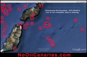Die Kanaren sind Hotspot-Inseln - und der rumort immer noch: Deshalb sorgen sich die Erdöl-Gegner vor allem um Erdbeben und andere geographische Unwägbarkeiten bei den Probebohrungen. Diese Bedenken haben sie der Europäischen Kommission vorgelegt, eine Arbeitsgruppe ist mit deren Untersuchung beschäftigt. Grafik: No-Oil-Canarias