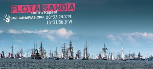 Flota Sandia: Protestschiffe stechen am Samstag, 13. Dezember 2014, in Richtung Sondierungsstelle Sandia vor Lanzarote in See. Bild: Save Canarias