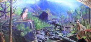 Wandgemälde im Las Piedras: La Palma aus der Sicht von Luis Morera mit surrealistischen Figuren. Foto: La Palma 24