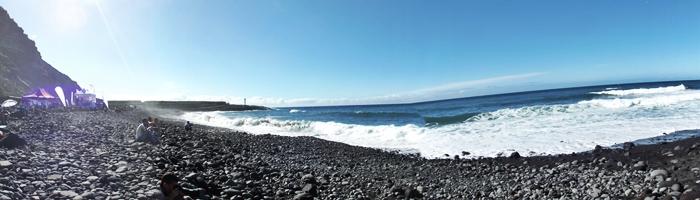 Blick vom Wettkampfplatz der Playa de los Guirres nach Süden: immer ein schöner Platz, nicht nur bei der Surf-Shark-Competition. Foto: La Palma 24