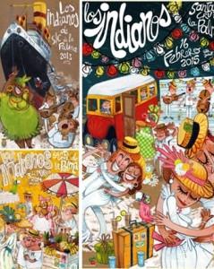 Die drei Siegerplakate von Victor Jaubert: Kann man in den Tourismusbüros in Puerto Naos, Los Llanos, El Paso, Los Cancajos und Santa Cruz kaufen.