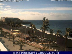 Webcam in Puerto Naos: Blick über die Strandpromenade und den Atlantik.