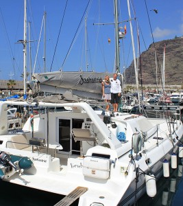 The Saschastrid in the harbour of Tazacorte: Siegfried and Simone invite to sporting or too relaxed sailing for beginners.
