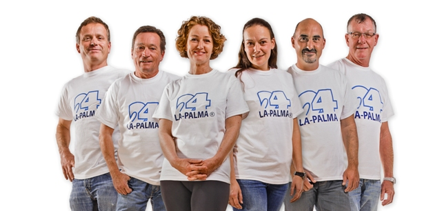 Car rental Team from La Palma24-rent a car: (f.l.t.r.): Miki, Roland, Heidrun, Dörthe, Frank and Roland. This are the people who handover your car at the airport and who organize your bookings at the office.