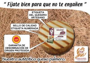 Achten Sie beim Kauf auf die Etiketten: Daran ist der original palmerische Ziegenkäse zu erkennen! Foto: DOP-Kontrollrat