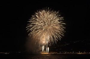 Fuegos Labrados: gibt es immer zur Bajada - dieses Foto der Stadt ist von der letzten Virgen-Fiesta 2010. Den Namen dieses Feuerwerks kann man nicht wirklich übersetzen.