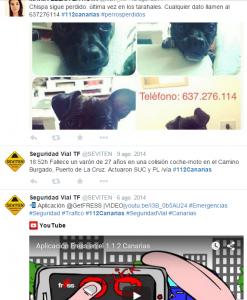 #112Canarias: Diese Twitter-Seite zeigt, dass hier Infos aller Art - sogar die Suche nach einem verlorerengegangenen Hund - eingestellt werden.