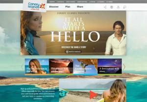 """Unter anderen """"prominenten"""" Internet-Urlaubsplattformen nominiert: Die englische Version der Werbe-Sites der Kanarischen Inseln."""