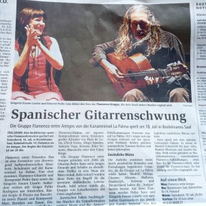 """Viel Resonanz in den Medien der Tournee-Stationen: """"Flamenco entre Amigos"""" werden zu musikalischen Botschaftern der Kanareninsel La Palma. Foto: Band"""