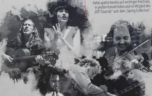 Musiker der Abriendo-Caminos-Tour 2015 (v.l.n.r.): Pedro Sanz, Iosune Lizarte, Pablo Rodríguez - unten: Sergio di Finizio und Marc Brenken. Fotos: Band