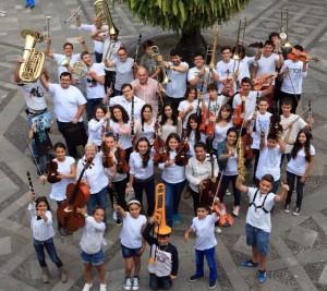 Kick-off concert el viernes: Estudiantes de música de la isla de La Palma en la Plaza de San Francisco. Foto: Santa Cruz