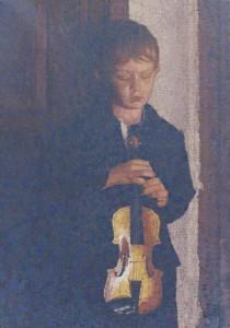 """""""Pablo con Violin"""" heißt dieses Bild, das Pedro Fausto einst von seinem Sohn malte: Heute ist Pablo ein weit über La Palma hinaus bekannter Musiker."""