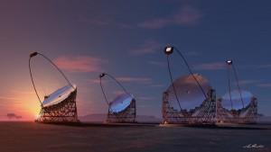 Modellfoto der neuen LST-Teleskopgeneration: Der Prototyp des größten Large Size Telesckops wird auf La Palma gebaut - der Grundstein ist schon gelegt. Pressefoto CTA-LST-IAC-Konsortium