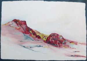 """Sylvia malt auch Landschaften: Diese hat sie mit """"kanarisches Skizzenblatt überschrieben."""