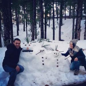 Adaia Cáceres García stellte dieses Bild ins Internet: Auch Palmeros verstehen sich aufs Schneemann-Bauen.
