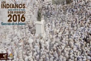 Offizielles Indianos-Plakat 2016 von Saúl Santos: Talkum-Regen auf der Plaza de Habana, wie der Rathausplatz im Karneval heißt.