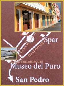Who wants to look at the handicraft production of Puros Palm Eros, finds with this map to Julio: On the main road to San Pedro turn into there from Santa Cruz just before the Cigar Museum right and immediately right again into the small Calle Cabaguán.
