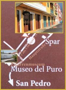 Wer sich die kunsthandwerkliche Herstellung der Puros Palmeros anschauen will, findet mit diesem Lageplan zu Julio: Auf der Hauptstraße nach San Pedro hinein aus Richtung Santa Cruz kurz vorm Zigarrenmuseum rechts abbiegen und sofort wieder rechts hinein in die kleine Calle Cabaguán.