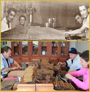 """Zeitsprung und doch hat sich kaum etwas verändert: Das Foto oben zeigt Julios Vater in den 1950er-Jahren bei der Puro-Palmero-Produktion an der """"Drehbank"""" - das Foto unten zeigt die Kunsthandwerker 2016 in der Werkstatt von Puros Artesanos Julio. Fotos: Julio/La Palma 24"""