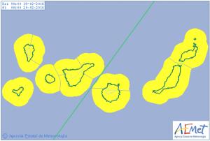Wetter am Freitag: Alarmstufe Gelb für Wind und Welle auf den Kanaren und La Palma. Grafik: AEMET
