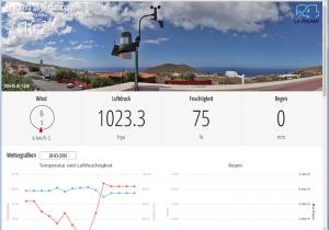 Die Daten der La Palma 24-Wetterstation im Internet: dynamische Tabellen zeigen die Daten in Echtzeit an.