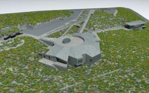 Der erste Baggerbiss ist getan: Bis Ende 2017 soll das Besucherzentrum auf dem höchsten Berg von La Palma stehen. Modell: Cabildo