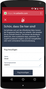 Progressive Web App: ausprobieren! Foto: Airberlin