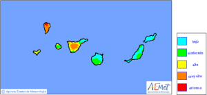 Die AEMET-Risikokarte für Waldbrände zeigt es: Nach wie vor ist La Palma vom Feuer gefährdet - Vorischt!