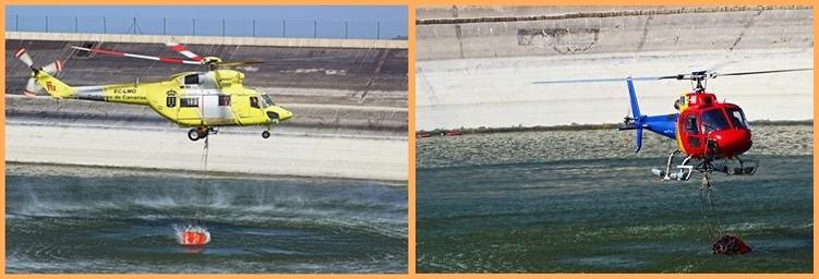 Es geht Schlag auf Schlag: Die Helikopter tanken im Wasserreservoir Dos Pinos ihre Löschsäcke nach. Das Cabildo hofft, dass mit der Unterstützung weiterer Flugzeuge und noch mehr Bodentruppen