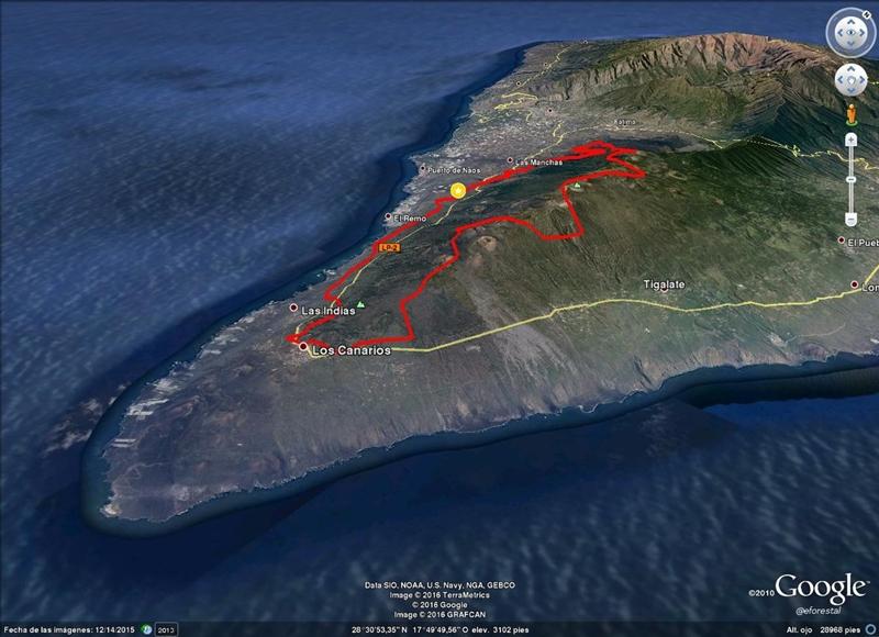 Karte Der Educacion Forestal Zeigt Die Ausmasse Des Waldbrandes Und Den Vormarsch Des Feuers Richtung