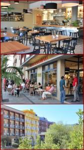 Hotel Benahoare in Los Llanos: Im Erdgeschoss lädt die Café-Bar Idafe zu Frühstück, Tapas oder Flammekuchen ein. Auf der Terrasse genießt man City-Feeling ohne Verkehrslärm. Fotos: La Palma 24