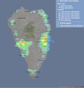 Light Pollution-Website: zeigt auch die Lichtverschmutzung auf La Palma, die eigentlich keine ist.