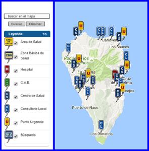 Gesundheitszentren auf La Palma: Versorgung rings um die Insel. Grafik: Kanarenregierung