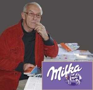 """Welche Farbe hat die Verführung? Harald setzte auf Lila, wurde erstmal abgeblockt und heute schreibt der Schokoladenproduzent: """"Ständiger Begleiter auf dem Erfolgsweg von Milka ist die Milka Kuh, die seit 35 Jahren als Werbeträger selbst zum lila Star der Marke geworden ist."""" Fotos: Dutiné/Milka OBS Kraft Foods Deutschland"""