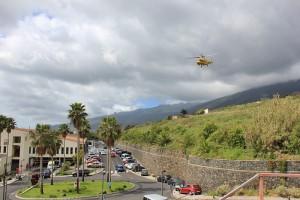 Hotel General von La Palma: Notfälle werden auch mit dem Hubschrauber in Spezialkliniken auf den großen Inseln geflogen. Foto: La Palma 24