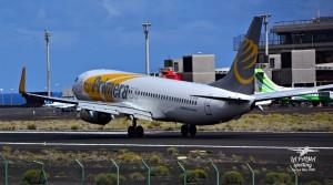 Bienvenido: Der erste Primera Air-Flieger mit Passagieren aus Skandinavien ist am vergangenen Donnerstag auf La Palma gelandet. Foto: Carlos Díaz La Palma Spotting