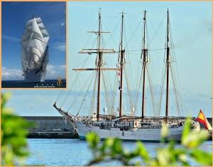 Die Juan Sebastián de Elcano im Hafen von Santa Cruz: Besichtigungen sind möglich. Fotos: Carlos Díaz/Armada de España