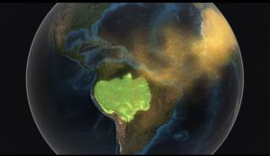 Der Wüstenstaub weht manchmal bis nach Südamerika: Dünger für die grüne Lunge der Erde. Screenshot aus NASA-Video siehe unten
