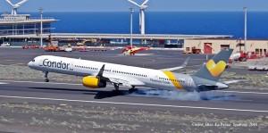 Happy Landing: Condor-Maschine setzt auf dem Airport Santa Cruz de La Palma auf. Foto: Carlos Díaz/La Palma Spotting