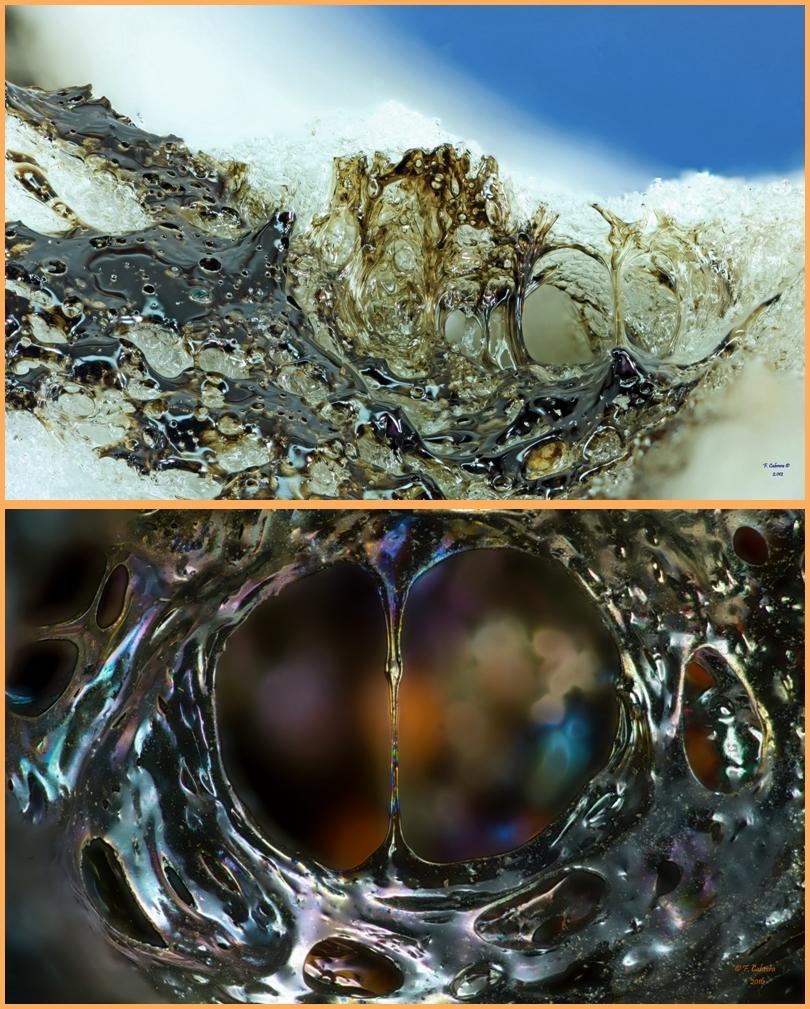 Lava vom neuen submarinen Vulkan vor El Hierro (oben) und Lava von La Palma im Mikrobereich von Facundo Cabrera fotografiert: Einblicke in neue Welten...