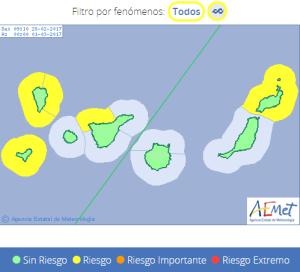 Vorsicht an den Küsten von La Palma: hohe Wellen rollen an. Grafik: AEMET